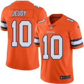 Wholesale Cheap Nike Broncos #10 Jerry Jeudy Orange Men\'s Stitched NFL Limited Rush Jersey