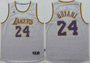Wholesale Cheap Men's Los Angeles Lakers #24 Kobe Bryant Revolution 30 Swingman 2014 New Gray Jersey