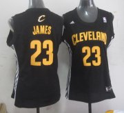 Wholesale Cheap Cleveland Cavaliers #23 LeBron James Black With Gold Womens Jersey