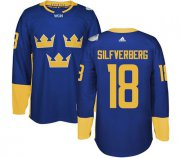 Wholesale Cheap Team Sweden #18 Jakob Silfverberg Blue 2016 World Cup Stitched NHL Jersey