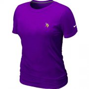 Wholesale Cheap Women's Nike Minnesota Vikings Chest Embroidered Logo T-Shirt Purple