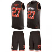 Wholesale Cheap Nike Browns #27 Kareem Hunt Brown Team Color Men's Stitched NFL Limited Tank Top Suit Jersey