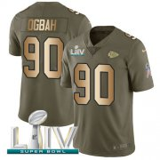 Wholesale Cheap Nike Chiefs #90 Emmanuel Ogbah Olive/Gold Super Bowl LIV 2020 Youth Stitched NFL Limited 2017 Salute To Service Jersey