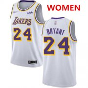 Wholesale Cheap Women's Los Angeles Lakers #24 Kobe Bryant White Basketball Swingman Association Edition Jersey