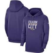 Wholesale Cheap Baltimore Ravens Nike Sideline Local Performance Pullover Hoodie Purple