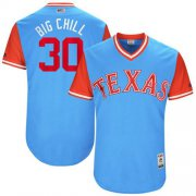 "Wholesale Cheap Rangers #30 Nomar Mazara Light Blue ""Big Chill"" Players Weekend Authentic Stitched MLB Jersey"