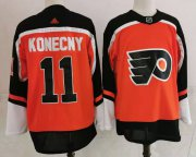 Wholesale Cheap Men's Philadelphia Flyers #11 Travis Konecny Orange Adidas 2020-21 Stitched NHL Jersey