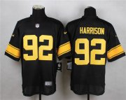 Wholesale Cheap Nike Steelers #92 James Harrison Black(Gold No.) Men's Stitched NFL Elite Jersey