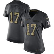 Wholesale Cheap Nike Chargers #17 Philip Rivers Black Women's Stitched NFL Limited 2016 Salute to Service Jersey