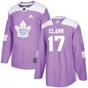 Wholesale Cheap Adidas Maple Leafs #17 Wendel Clark Purple Authentic Fights Cancer Stitched Youth NHL Jersey