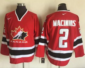 Wholesale Cheap Team CA. #2 Al MacInnis Red/Black 2002 Olympic Nike Throwback Stitched NHL Jersey