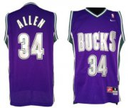 Wholesale Cheap Milwaukee Bucks #34 Ray Allen Purple Swingman Throwback Jersey