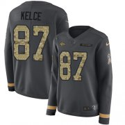 Wholesale Cheap Nike Chiefs #87 Travis Kelce Anthracite Salute to Service Women's Stitched NFL Limited Therma Long Sleeve Jersey