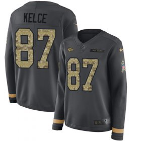 Wholesale Cheap Nike Chiefs #87 Travis Kelce Anthracite Salute to Service Women\'s Stitched NFL Limited Therma Long Sleeve Jersey