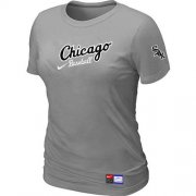 Wholesale Cheap Women's Chicago White Sox Nike Away Practice MLB T-Shirt Light Grey