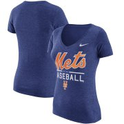 Wholesale Cheap New York Mets Nike Women's Practice 1.7 Tri-Blend V-Neck T-Shirt Heathered Royal
