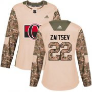 Wholesale Cheap Adidas Senators #22 Nikita Zaitsev Camo Authentic 2017 Veterans Day Women's Stitched NHL Jersey