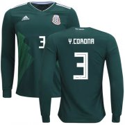 Wholesale Cheap Mexico #3 Y.Corona Home Long Sleeves Soccer Country Jersey
