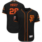 Wholesale Cheap Giants #28 Buster Posey Black 2018 Spring Training Authentic Flex Base Stitched MLB Jersey