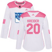 Wholesale Cheap Adidas Rangers #20 Chris Kreider White/Pink Authentic Fashion Women's Stitched NHL Jersey
