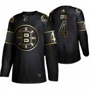 Wholesale Cheap Adidas Bruins #4 Bobby Orr Men's 2019 Black Golden Edition Retired Player Authentic Stitched NHL Jersey