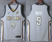 Wholesale Cheap Men's Cleveland Cavaliers #9 Dwyane Wade Gray The Land 2017-2018 Nike Authentic Stitched NBA Jersey