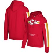 Wholesale Cheap Kansas City Chiefs Mitchell & Ness Three Stripe Pullover Hoodie Red