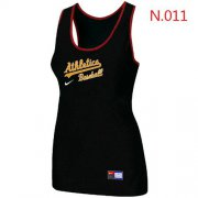 Wholesale Cheap Women's Nike Oakland Athletics Tri-Blend Racerback Stretch Tank Top Black