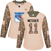 Wholesale Cheap Adidas Rangers #11 Mark Messier Camo Authentic 2017 Veterans Day Women's Stitched NHL Jersey