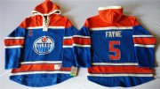 Wholesale Cheap Oilers #5 Mark Fayne Light Blue Sawyer Hooded Sweatshirt Stitched NHL Jersey