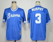 Wholesale Cheap Mitchell and Ness Braves #3 Dale Murphy Blue Throwback Stitched MLB Jersey