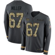 Wholesale Cheap Nike Bengals #67 John Miller Anthracite Salute to Service Men's Stitched NFL Limited Therma Long Sleeve Jersey
