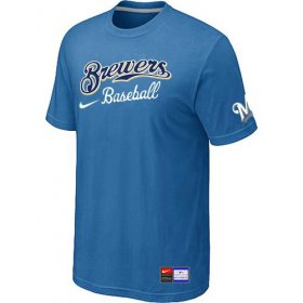 Wholesale Cheap Milwaukee Brewers Nike Short Sleeve Practice MLB T-Shirt Indigo Blue