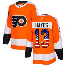 Wholesale Cheap Adidas Flyers #13 Kevin Hayes Orange Home Authentic USA Flag Stitched NHL Jersey