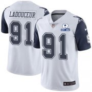 Wholesale Cheap Nike Cowboys #91 L.P. Ladouceur White Men's Stitched With Established In 1960 Patch NFL Limited Rush Jersey