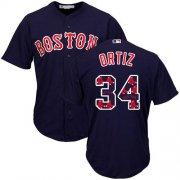 Wholesale Cheap Red Sox #34 David Ortiz Navy Blue Team Logo Fashion Stitched MLB Jersey