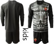 Wholesale Cheap Roma Blank Black Goalkeeper Long Sleeves Kid Soccer Club Jersey