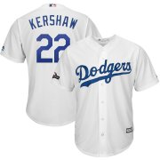 Wholesale Cheap Los Angeles Dodgers #22 Clayton Kershaw Majestic 2019 Postseason Home Official Cool Base Player Jersey White