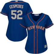 Wholesale Cheap Mets #52 Yoenis Cespedes Blue(Grey NO.) Alternate Women's Stitched MLB Jersey