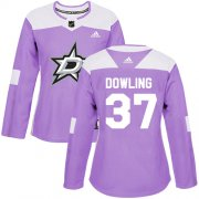 Cheap Adidas Stars #37 Justin Dowling Purple Authentic Fights Cancer Women's Stitched NHL Jersey