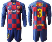 Wholesale Cheap Barcelona #3 Pique Home Long Sleeves Soccer Club Jersey