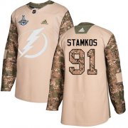 Cheap Adidas Lightning #91 Steven Stamkos Camo Authentic 2017 Veterans Day Youth 2020 Stanley Cup Champions Stitched NHL Jersey