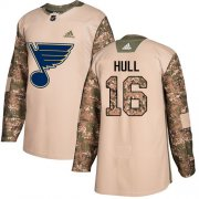 Wholesale Cheap Adidas Blues #16 Brett Hull Camo Authentic 2017 Veterans Day Stitched NHL Jersey