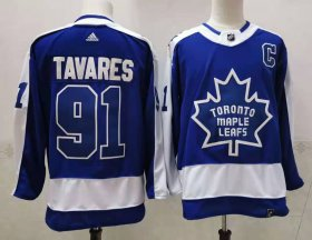 Wholesale Cheap Men\'s Toronto Maple Leafs #91 John Tavares Royal Blue With C Patch 2021 Retro Stitched NHL Jersey