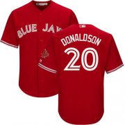 Wholesale Cheap Blue Jays #20 Josh Donaldson Red Cool Base Canada Day Stitched Youth MLB Jersey