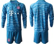 Wholesale Cheap Bayern Munchen Blank Light Blue Goalkeeper Long Sleeves Soccer Club Jersey