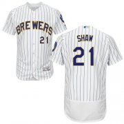 Wholesale Cheap Brewers #21 Travis Shaw White Strip Flexbase Authentic Collection Stitched MLB Jersey