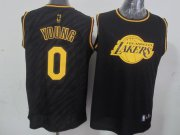 Wholesale Cheap Los Angeles Lakers #0 Nick Young Revolution 30 Swingman 2014 Black With Gold Jersey