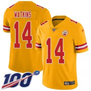 Wholesale Cheap Nike Chiefs #14 Sammy Watkins Gold Men's Stitched NFL Limited Inverted Legend 100th Season Jersey