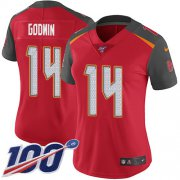 Wholesale Cheap Nike Buccaneers #14 Chris Godwin Red Team Color Women's Stitched NFL 100th Season Vapor Untouchable Limited Jersey